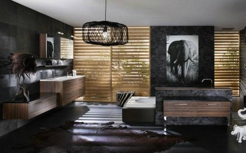 dunkle badezimmer design ideen - braune und graue farbtöne - dunkle fliesen wohnzimmer modern