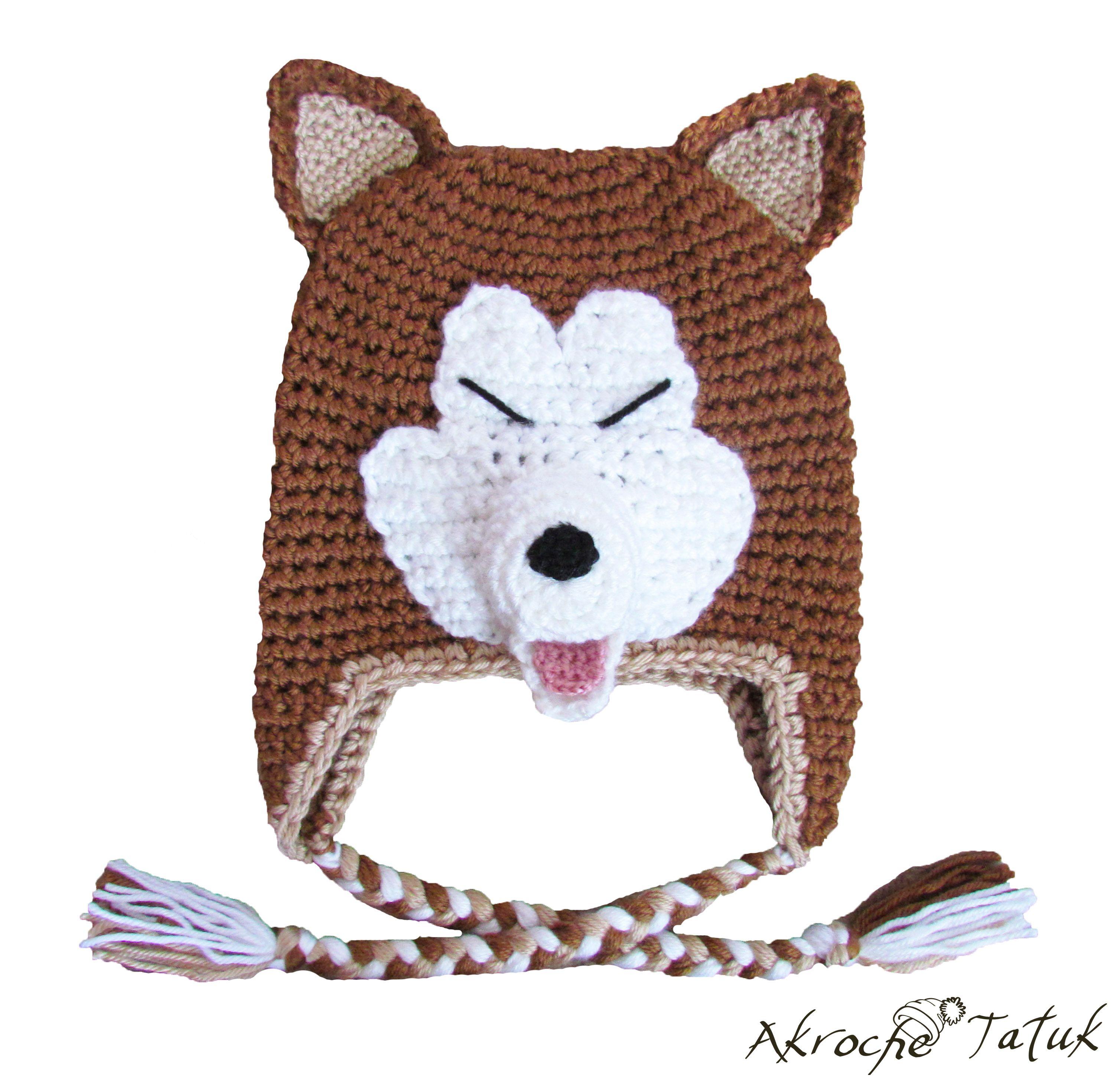 Akita Inu dog crochet hat | gorros tejidos | Pinterest | Croché ...