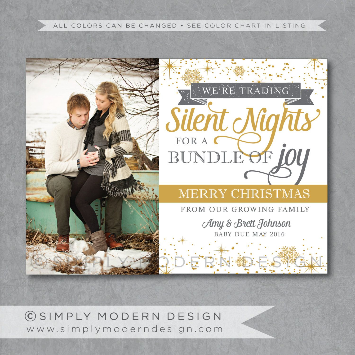 Holiday Card Christmas Pregnancy Announcement New Baby Printable By Simplymoderndesignx On Etsy