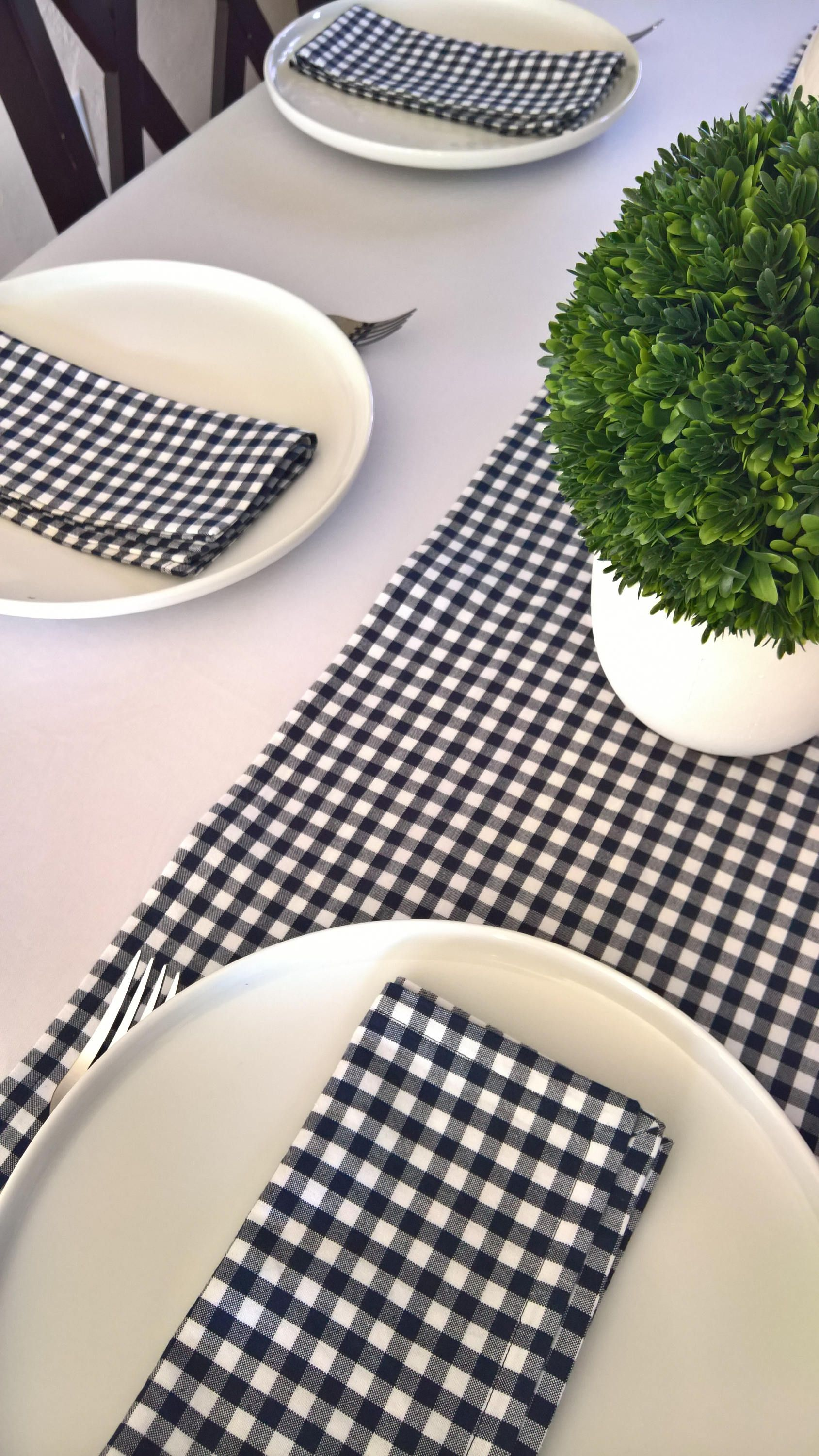 Blue Gingham Table Runner