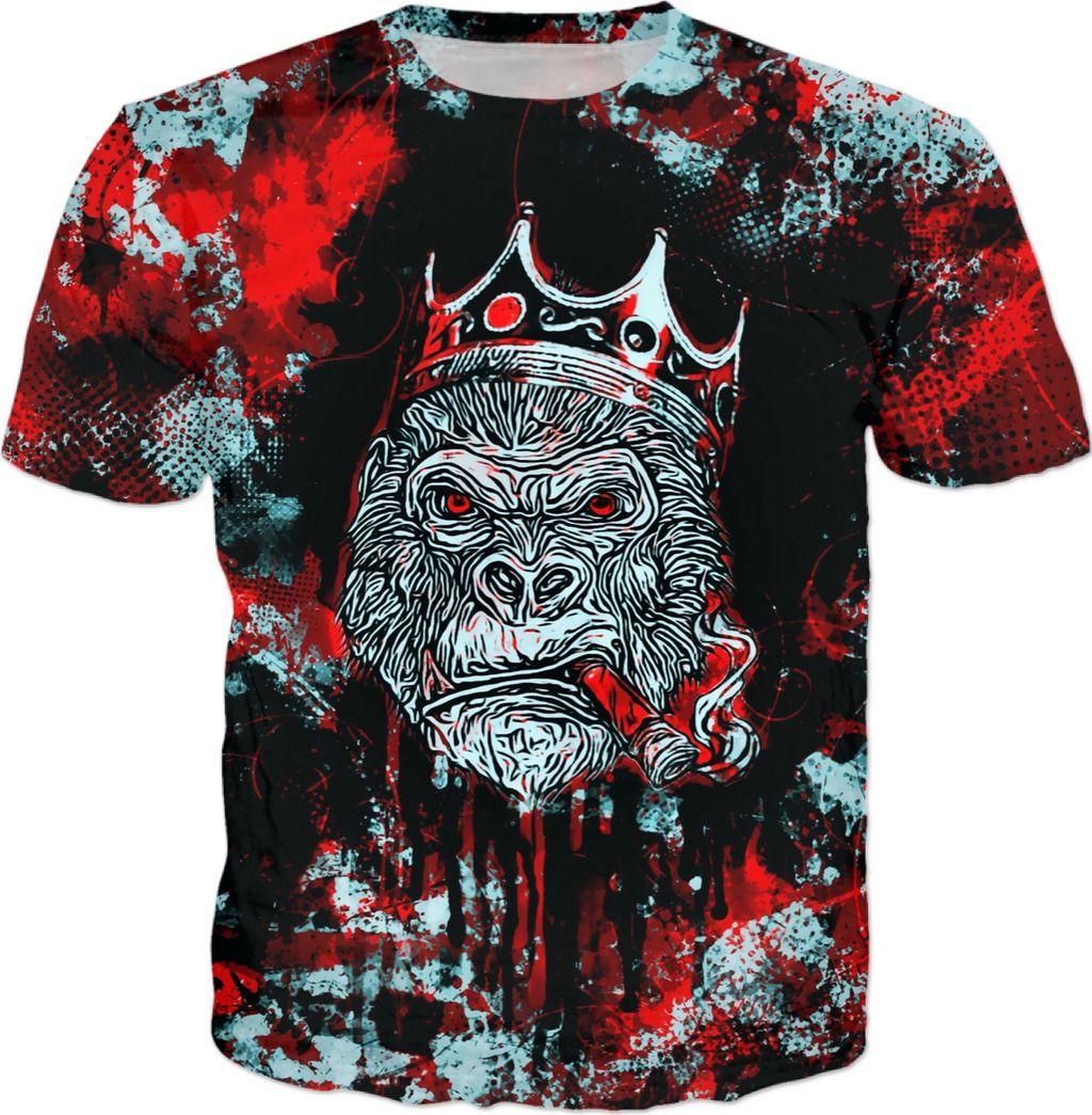 c2aa4dbb Graffiti Gorilla King All Over Print T-Shirt #BigTexFunkadelic #graffiti  #streetart #streetstyle #urban #gorilla #king #shirts #tshirt