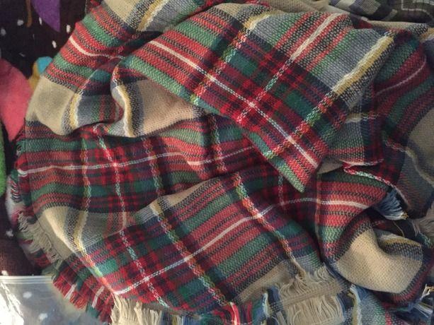 Red Classic Plaid Fringe Scarve -SheIn(Sheinside)