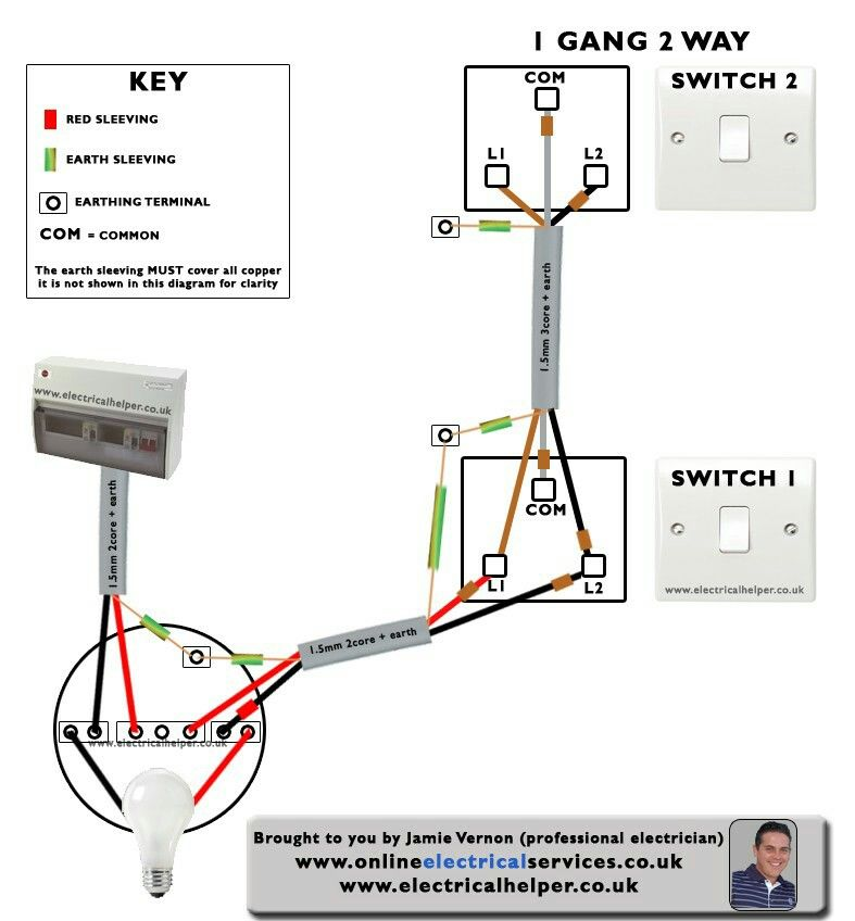 2 Gang 1 Way Light Switch Wiring Diagram Uk