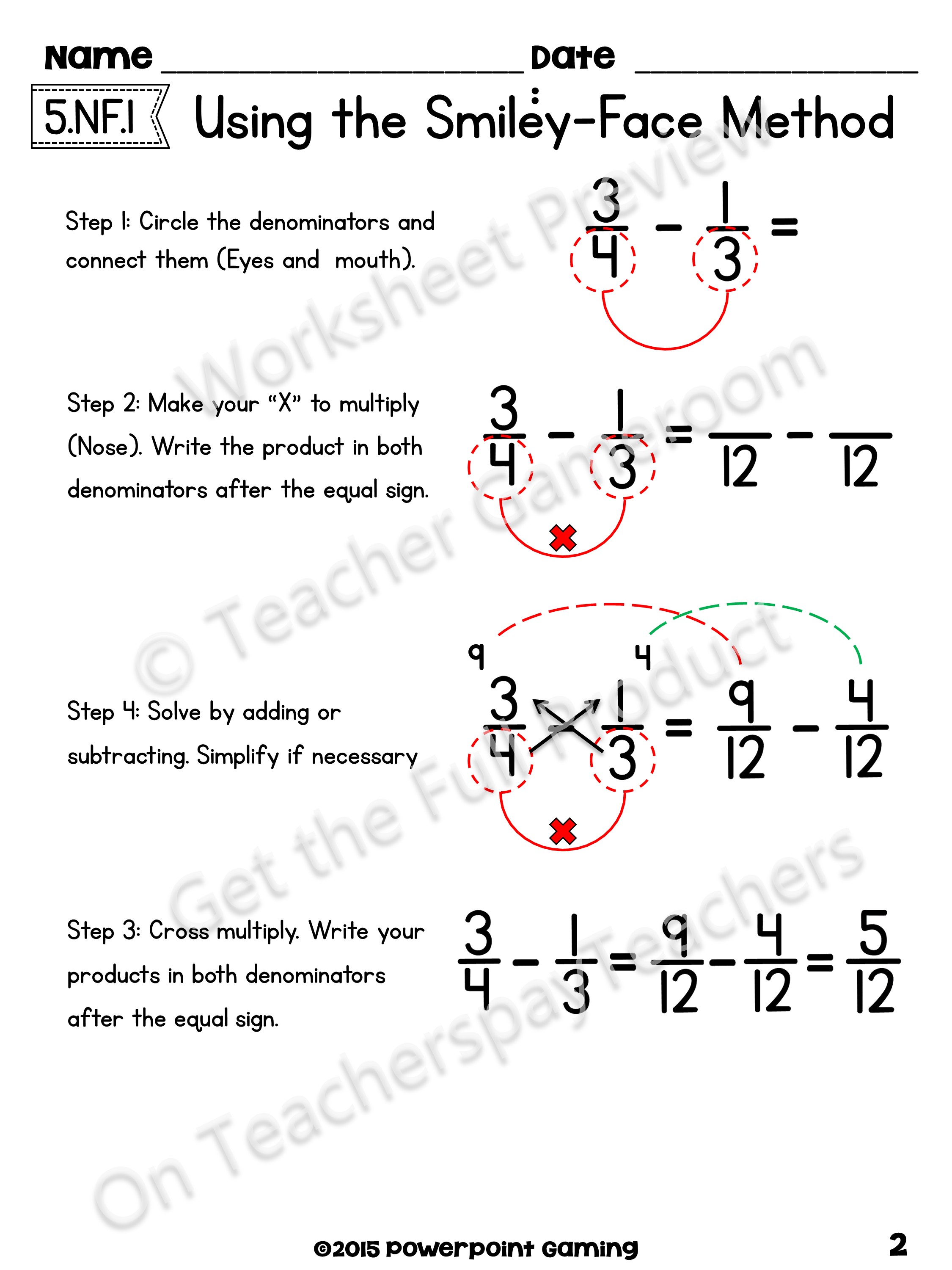 Adding Subtract Fractions with Unlike Denominators using
