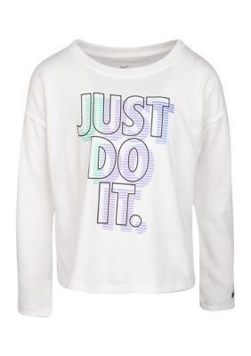 Nike Girls 4-6X Fashion T-Shirt. A 3D looking 'Just Do It' logo adds an eye-catching touch to this t-shirt from Nike.