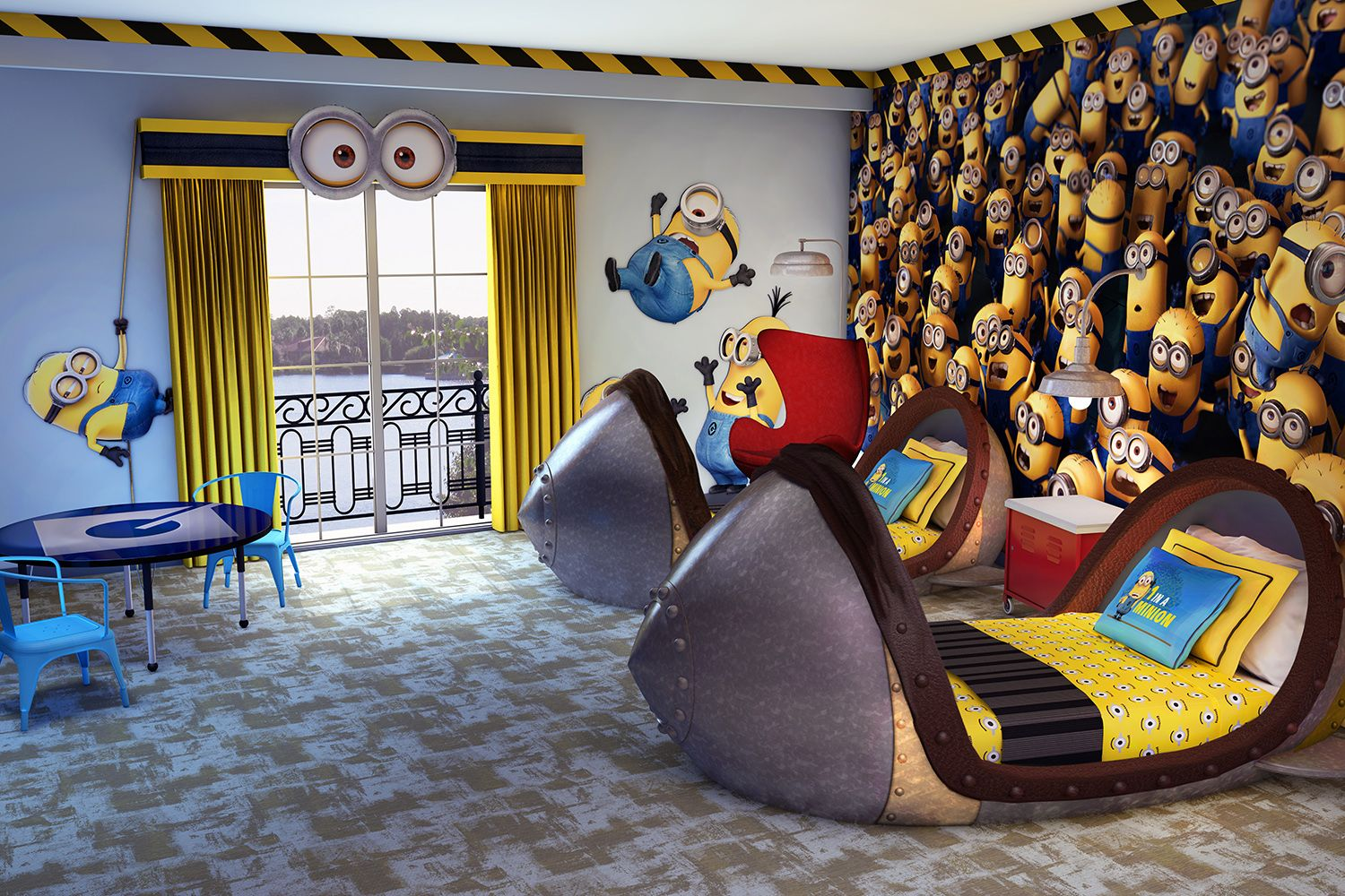 I Want This Bedroom For Me Of Course Dm Kids Suites At Uor Jpg 1500 1000 Minion Room Minion Room Decor Minion Bedroom