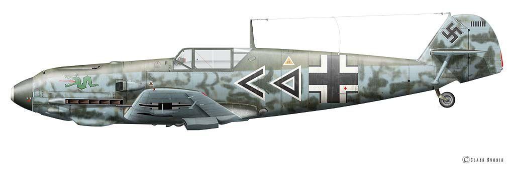 Messerschmitt Bf 109E4 Stab I.JG3 Gunther Lutzow Berneuil France 6th June 1940 © Claes Sundin .
