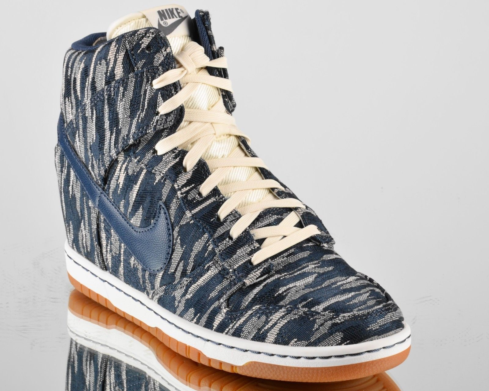 Size 9.5 Women Nike Dunk Sky High Wedge PRM Premium 585560 100 Sail Armory  Navy