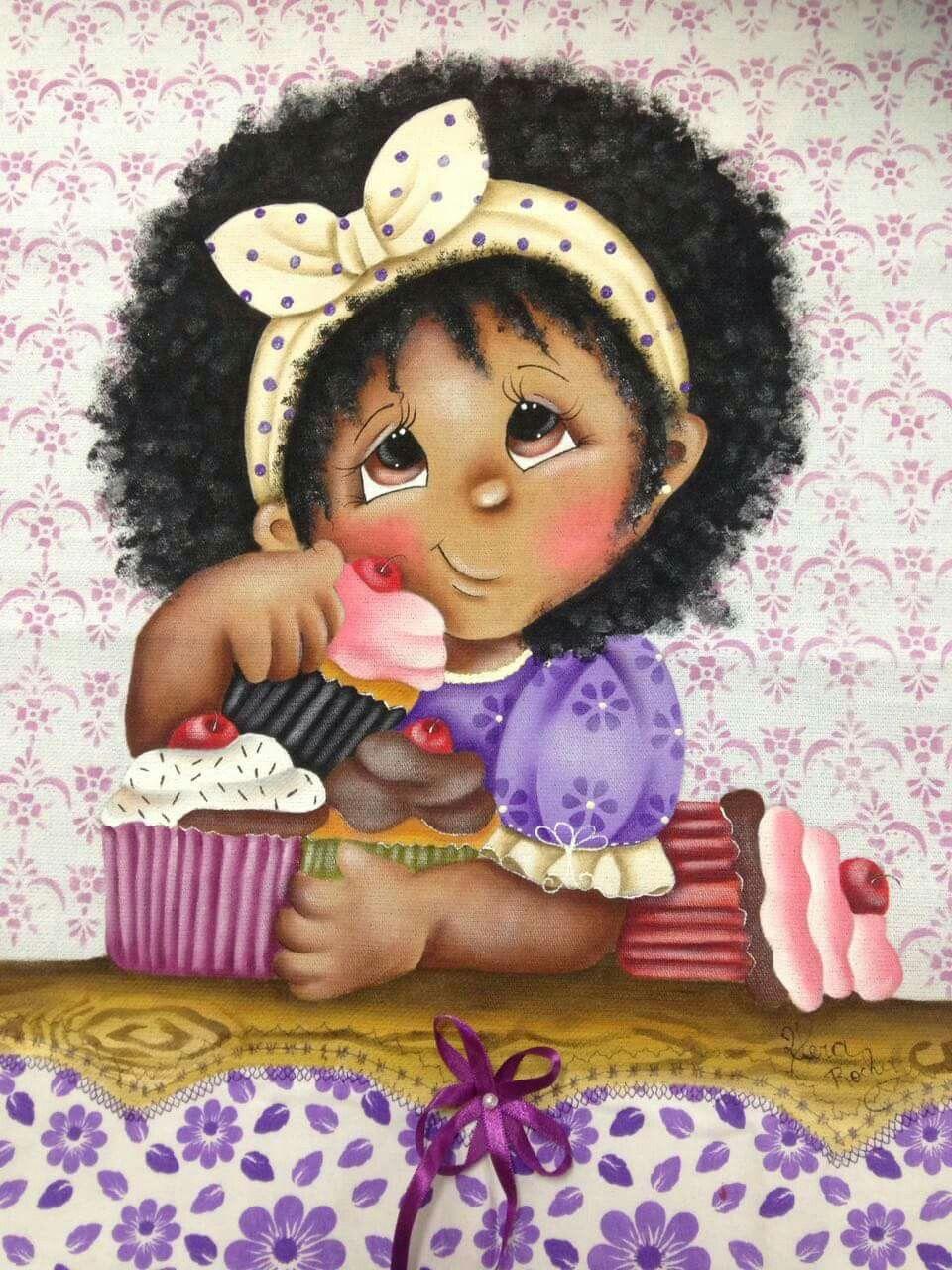 Pintura em tecido   bonecas   negras   para meninas Mais