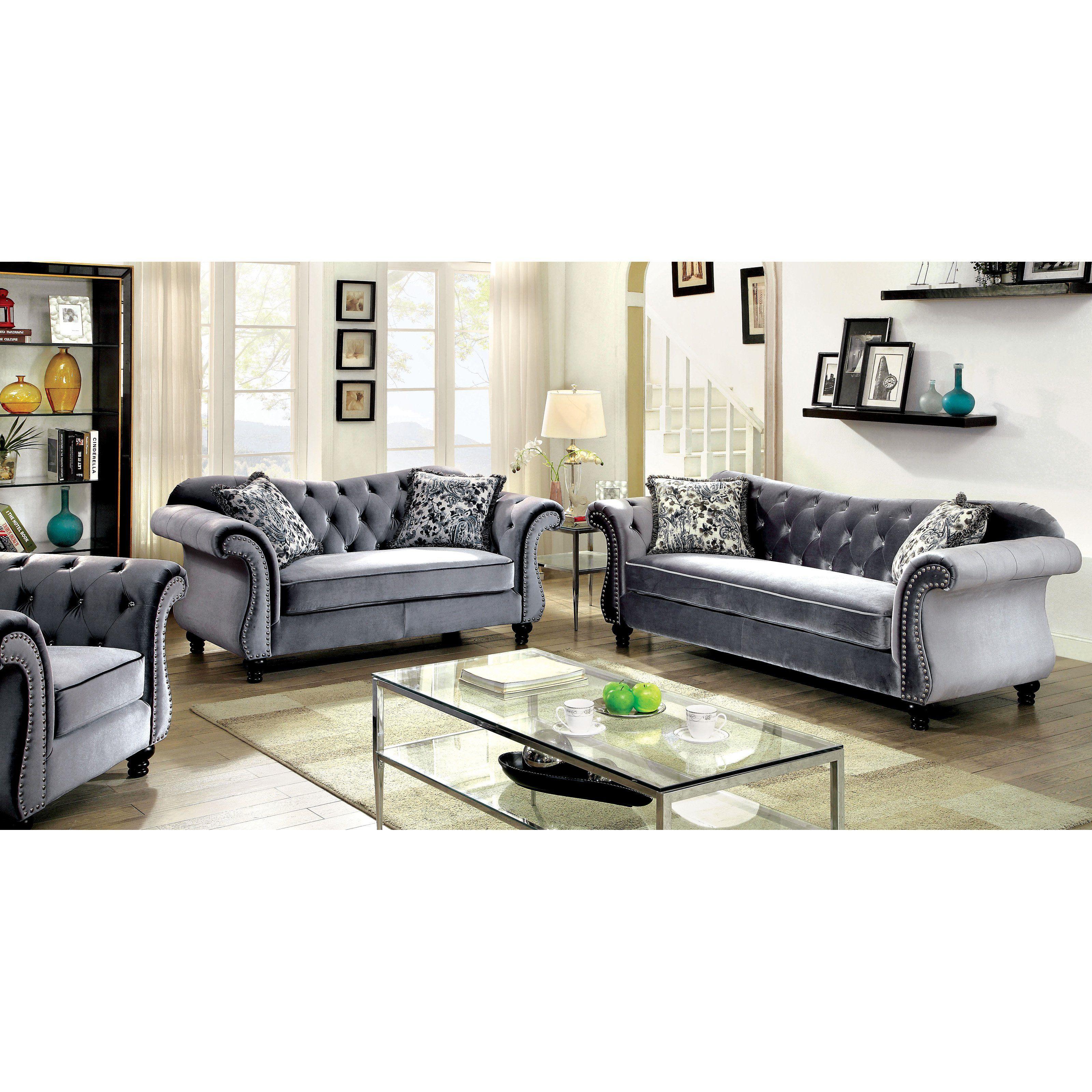Furniture of America Ileyna 3 Piece Sofa Set - IDF-6159GY ...