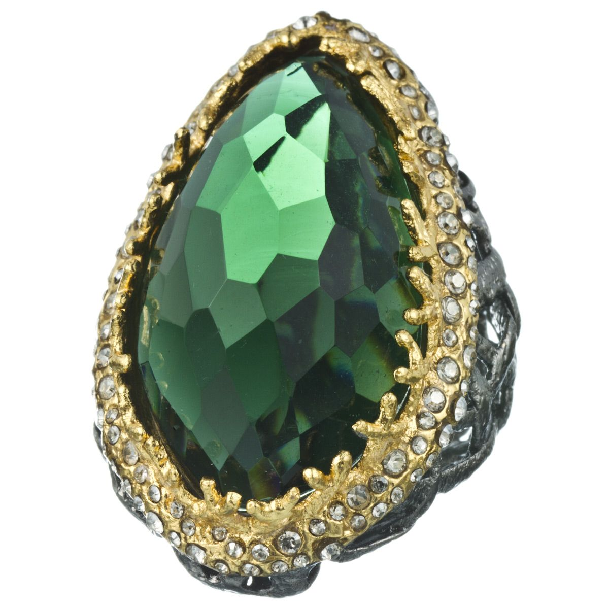 Pave Accented Gunmetal Hydro Qtz Green Tourmaline Woven Ring, Elements Collection by Alexis Bittar $275