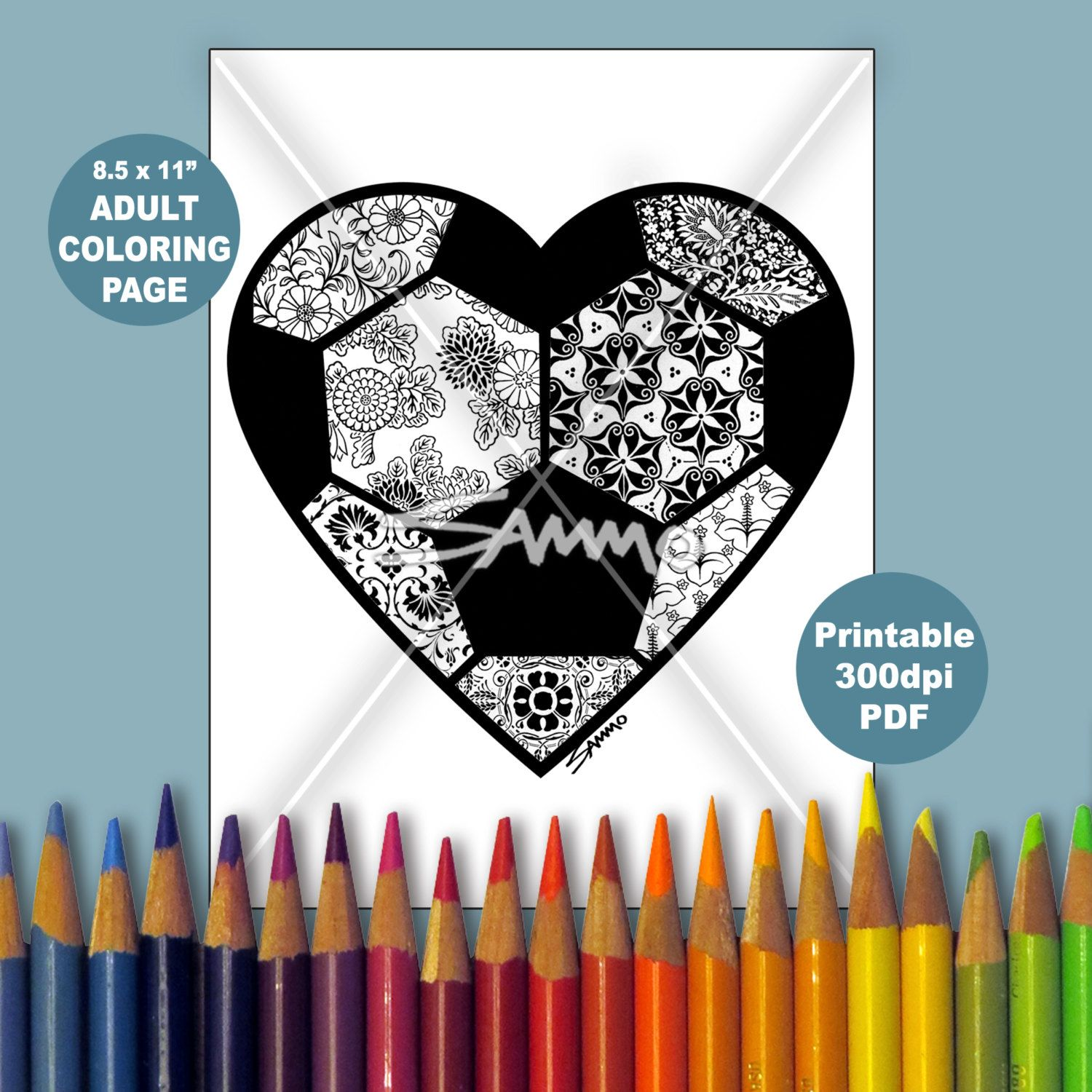 soccer ball heart coloring page stress relieving by sammo