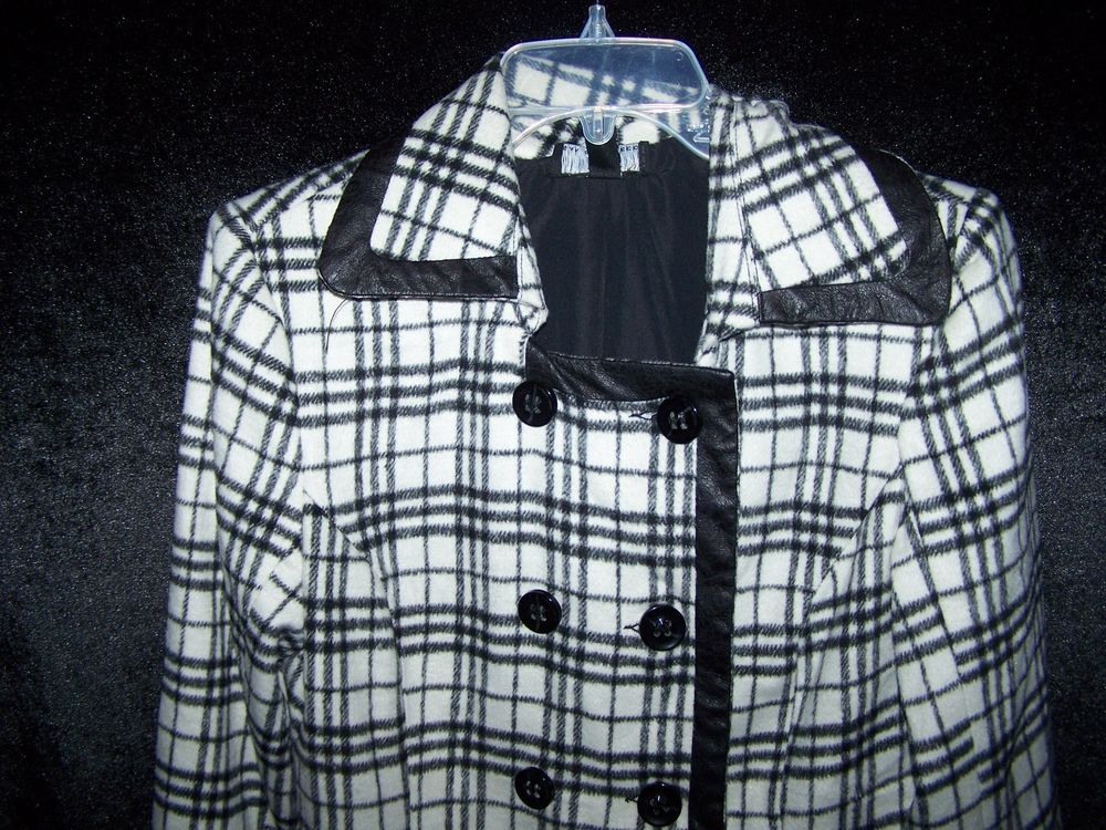 I N WOMEN'S BLACK & WHITE LIGHT WEIGHT PLAID JACKET, SIZE L #IN #LightweightJacket