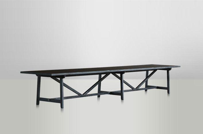 MIA, Holztisch massiv schwarz antik, Esstisch Massivholz bis 500 cm ...