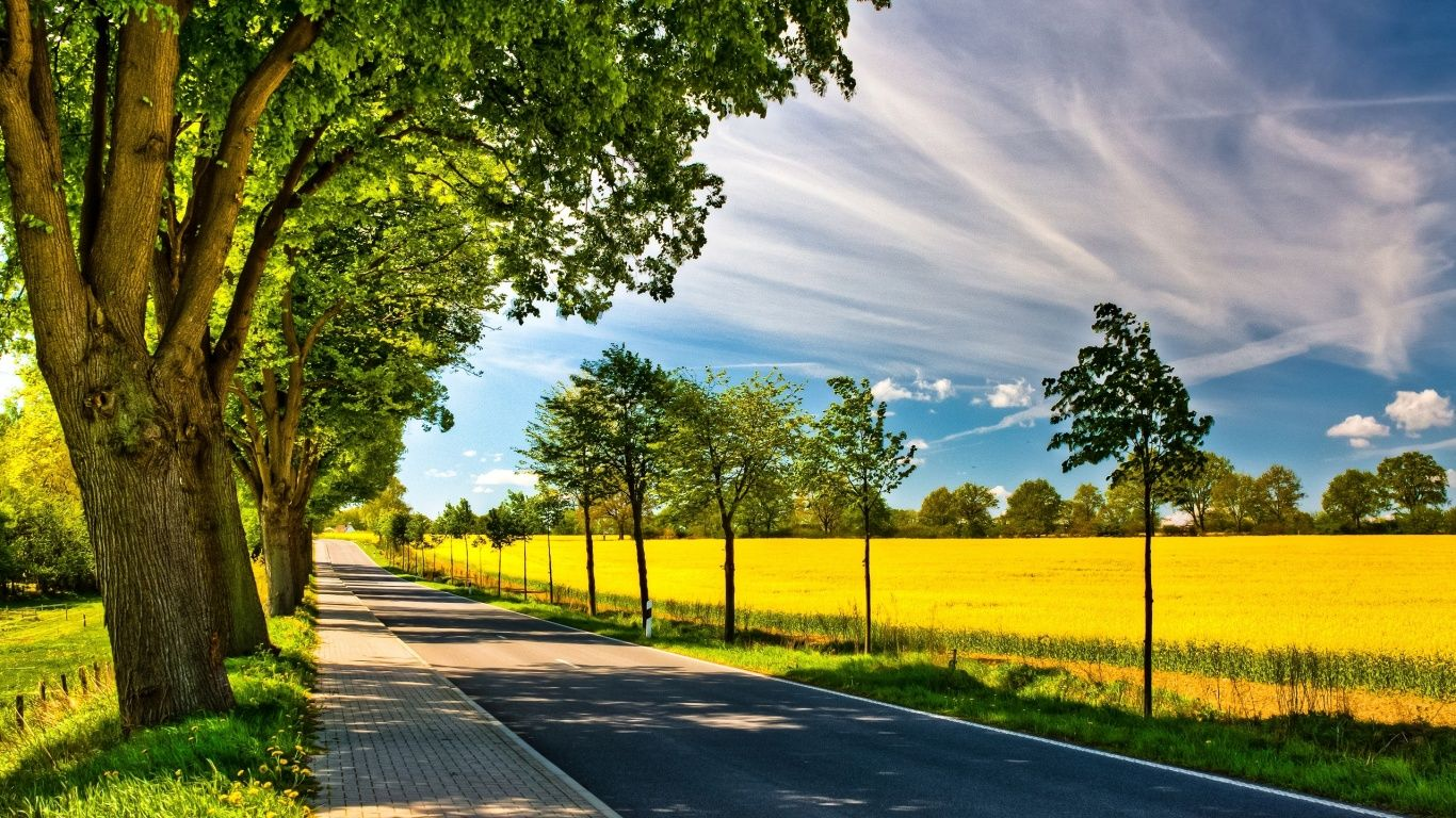 Spring Road Wallpapers Hd Nature Wallpapers Landscape Wallpaper Spring Desktop Wallpaper