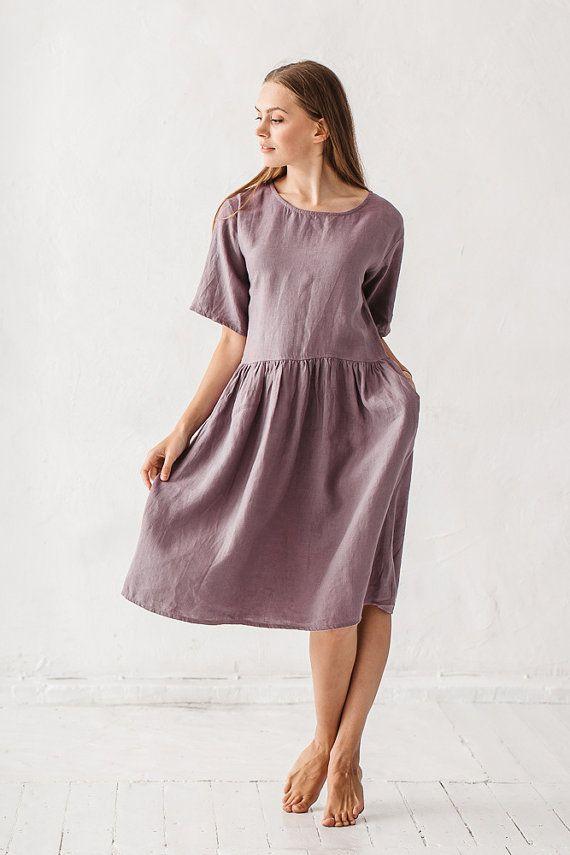 Linen dress Dusty lavender linen dress Minimal linen by Linenfox