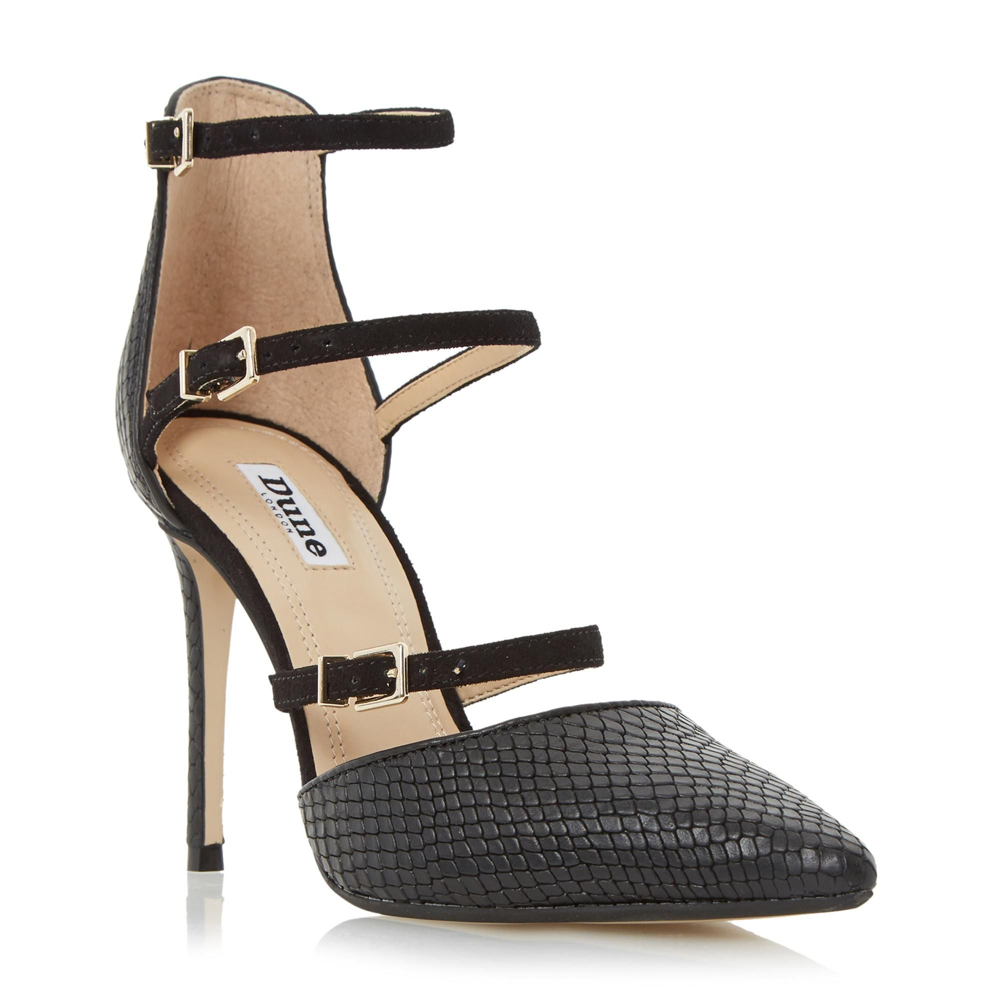 DUNE LADIES CATARINA - Triple Strap Two Part Heeled Court Shoe - black | Dune Shoes Online
