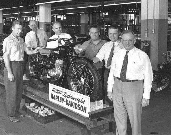 Riding Vintage article featuring  images from inside the Harley-Davidson factory, covering multiple years and models of motorcycles.