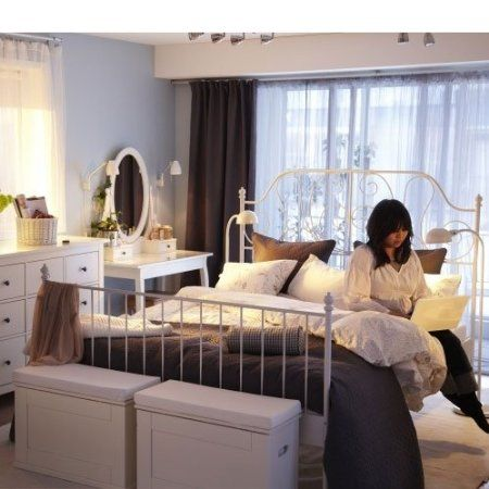 ikea leirvik bed frame white queen size iron metal country style new apartment. Black Bedroom Furniture Sets. Home Design Ideas