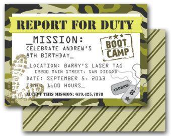 Boot Camp Theme Party Camo Invitation Army