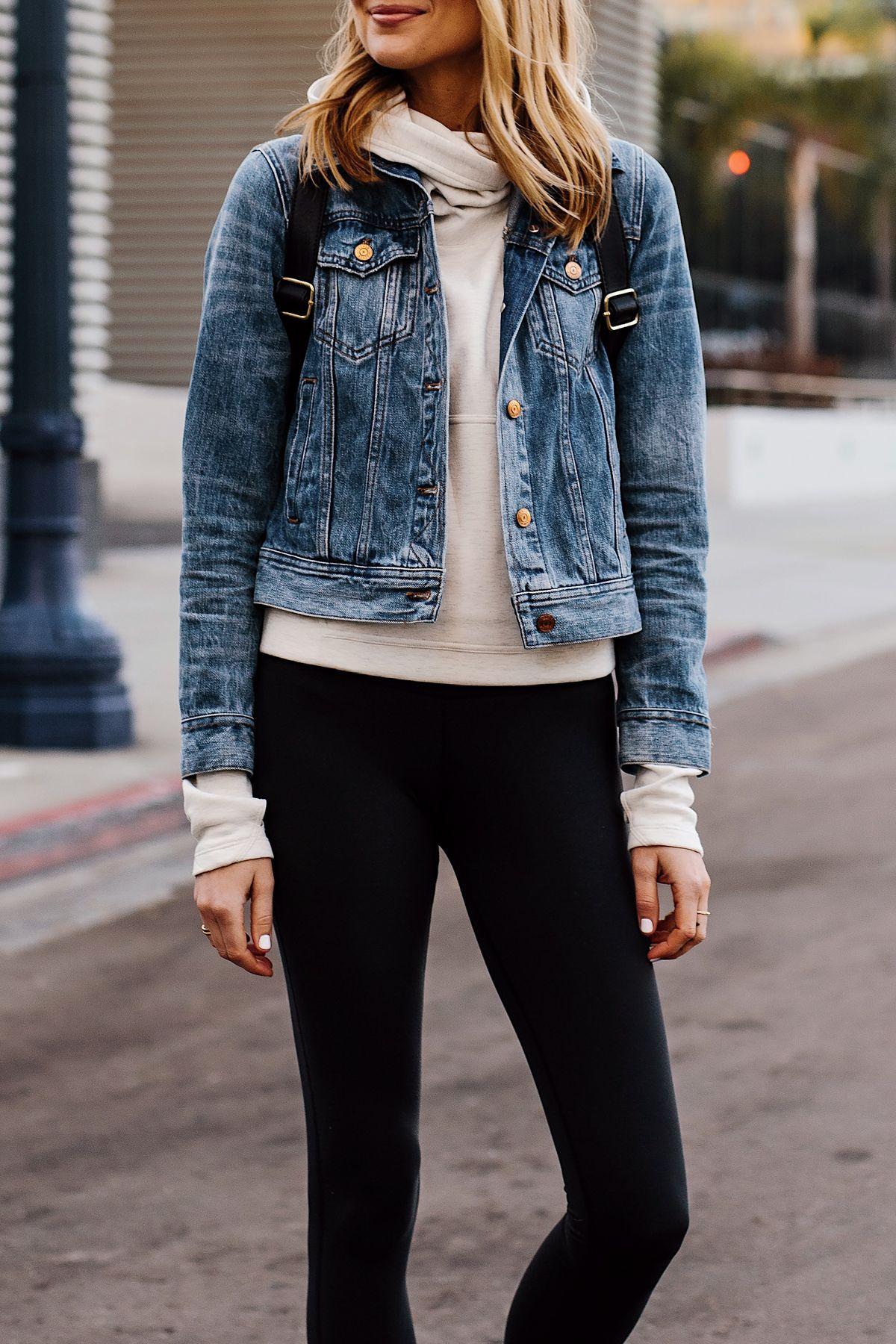 34bedcac2a7 Blonde Woman Wearing Athleisure Outfit Wearing Denim Jacket Grey Sweatshirt  Black Leggings Fashion Jackson San Diego Fashion Blogger Street Style