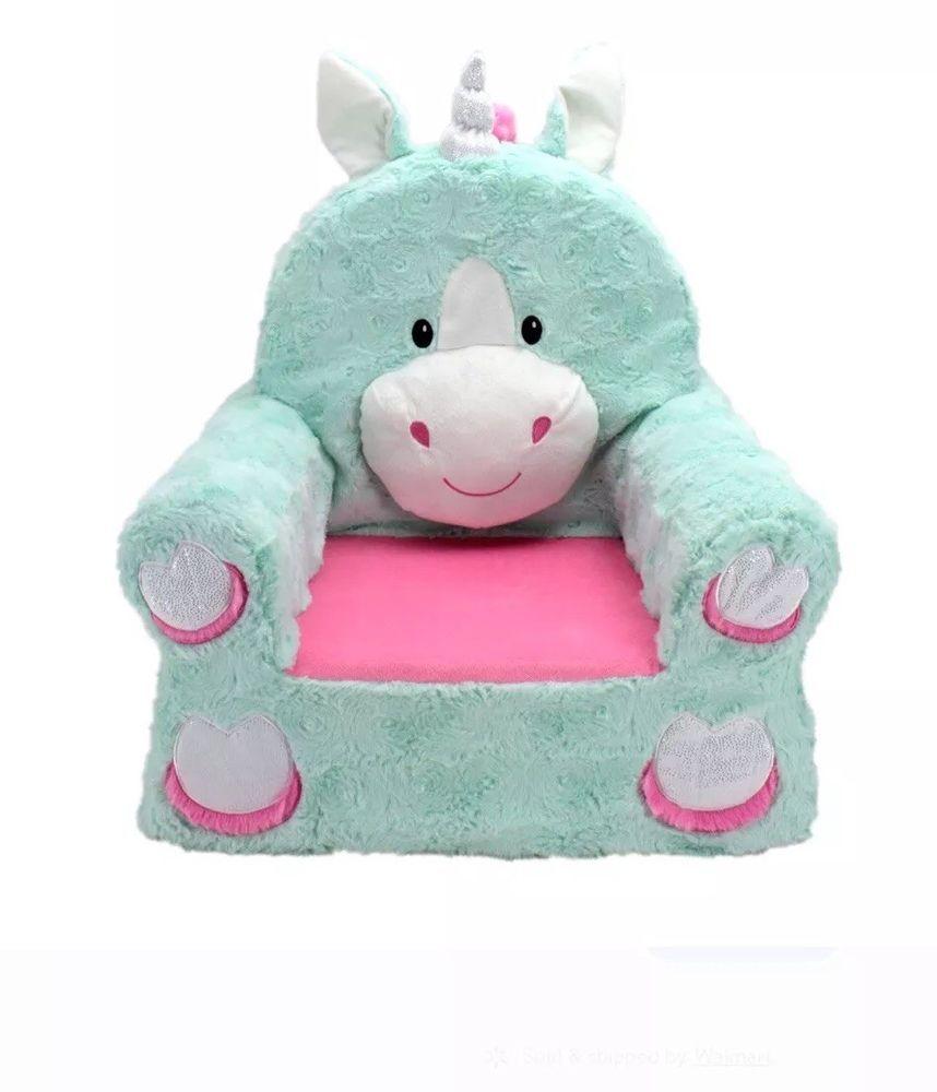 Sweet Seats Plush Unicorn Children Kids Animal Arm Chair Machine