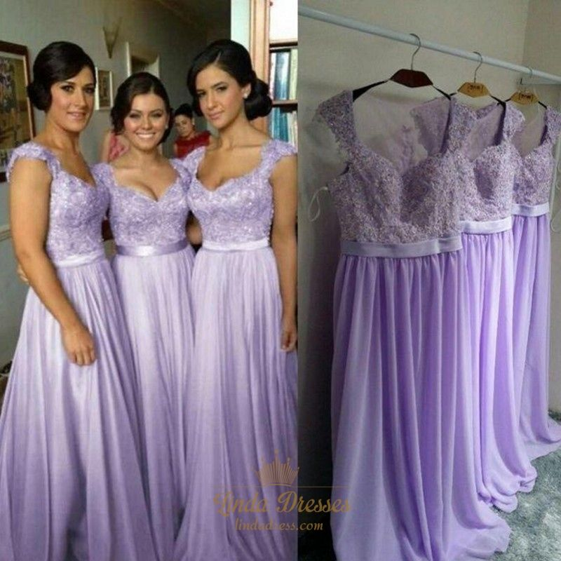 Lavender Lace Bodice Chiffon Skirt Bridesmaid Dress With Cap Sleeves ...
