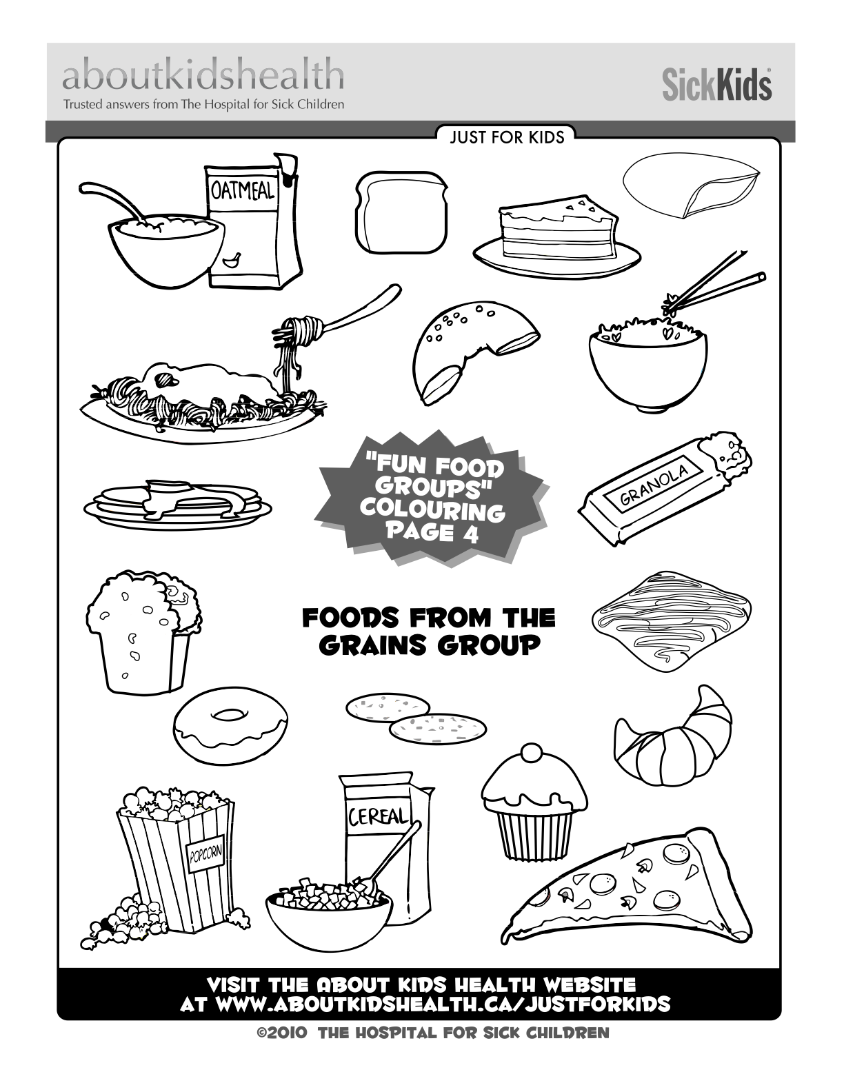 Colouring Page For Your Kids Foods From The Grains Group
