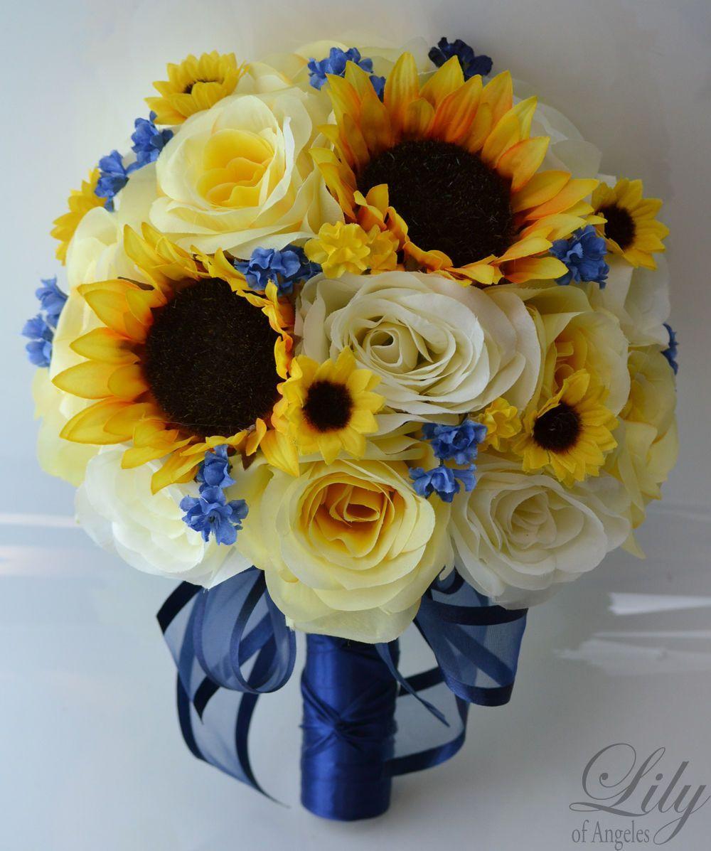 Sunflowers wedding bridal bouquet yellow and blue wedding ceremony