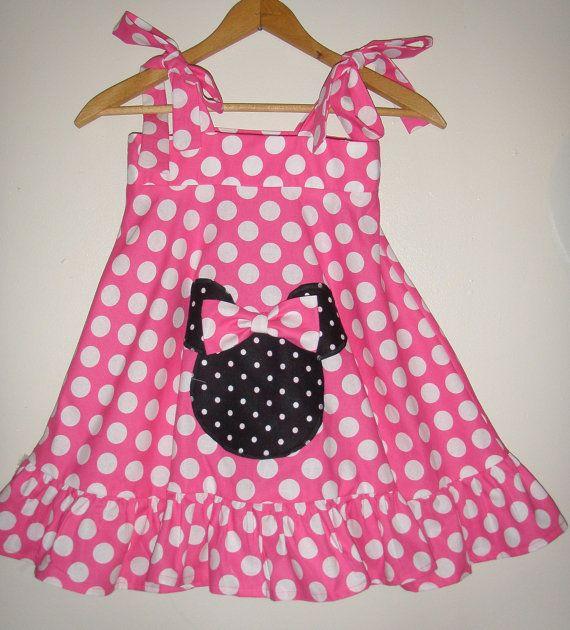 Minnie Mouse pink  polka  dot Ruffled Twirl Dress by minnieschild, $33.99