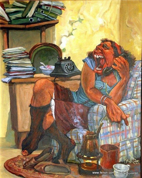 Mohsen abou el azm is one of egypt s best living satirical for Egyptian mural paintings