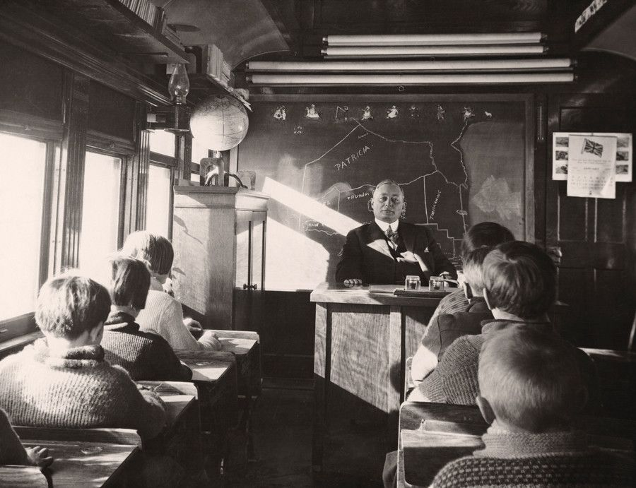 Mobile School . . . classroom on a rail car - Ontario Canada 1932