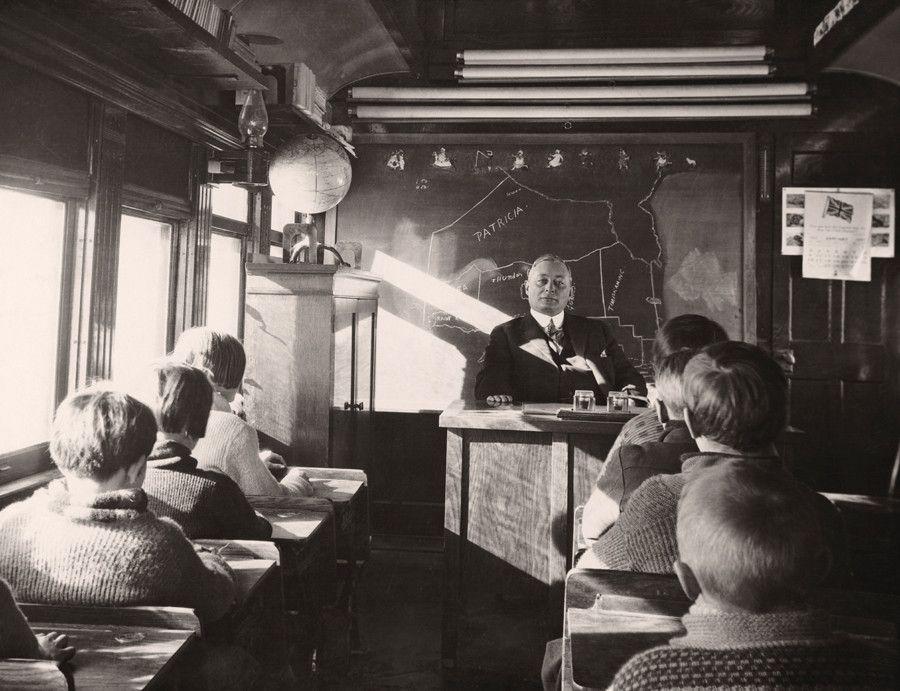 Mobile School . . . classroom on a rail car - Ontario Canada 1932