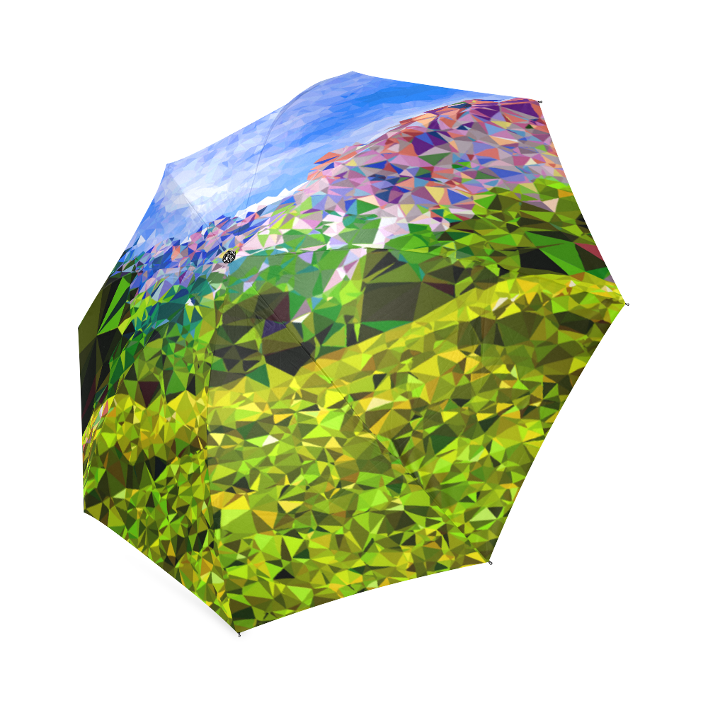 Yellow Mountain Flower Low Poly Geometric Art Foldable Umbrella
