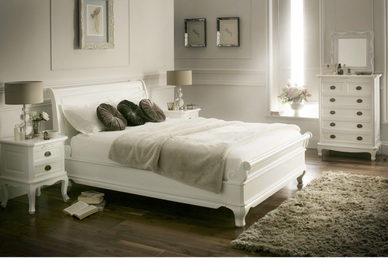 Sleigh Beds For Sale Near Me | White wooden bed, White ...