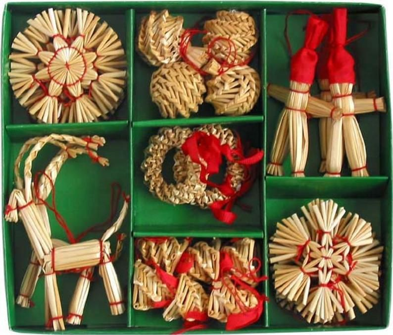 Scandinavian Straw Ornaments Box of 29 pieces Bell Goat