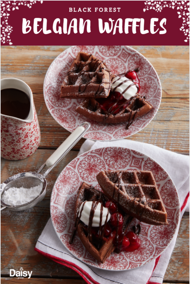 Black Forest Belgian Waffles Daisy Brand Sour Cream Cottage Cheese Recipe Waffle Iron Recipes Food Belgian Waffles