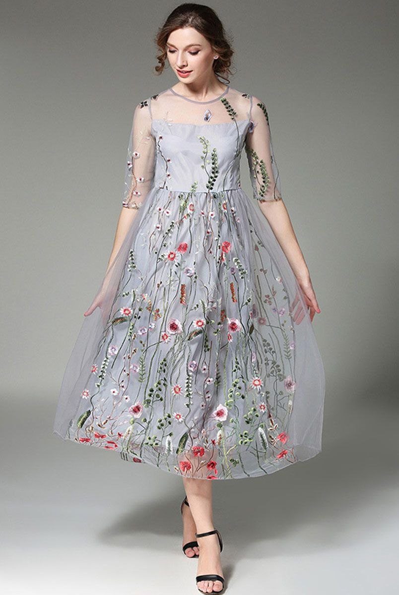 Tulle casual floral dress  Half sleeve dresses, Women cheap