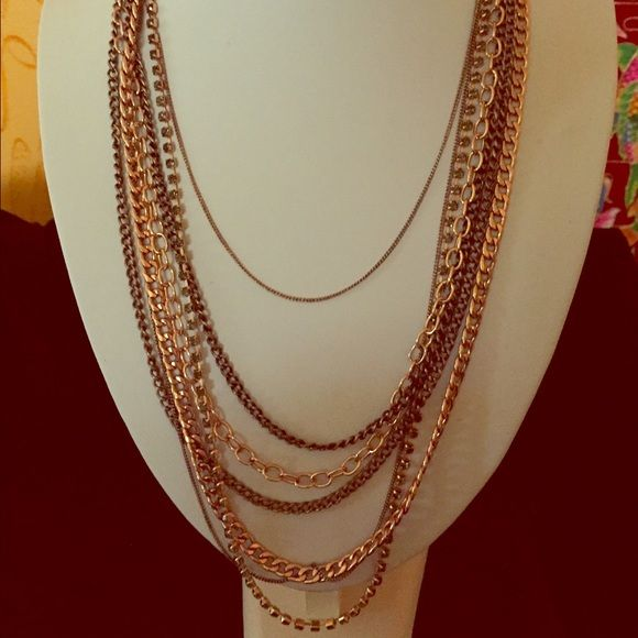 Stella & Dot Rose Gold Ginger Layering Necklace Rose Gold layered Necklace. Like New! Stella & Dot Jewelry Necklaces