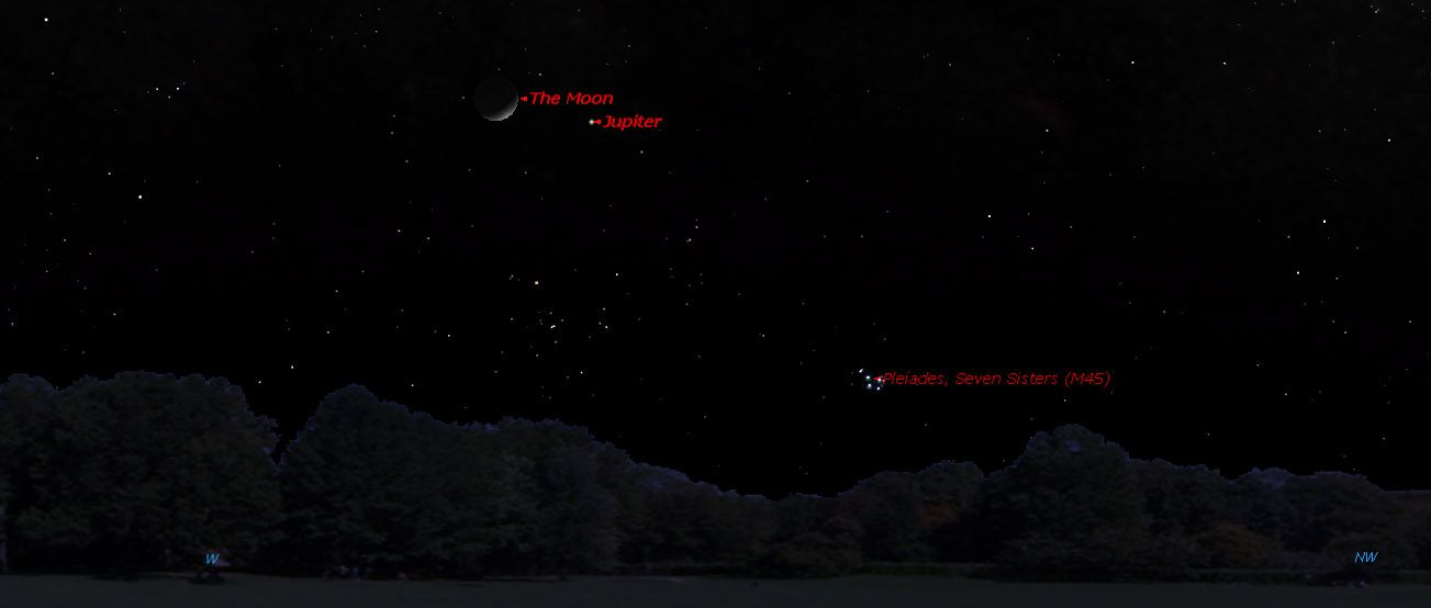 This Sky Map Shows The Location Of Jupiter And The Moon In The Night - Night sky map now