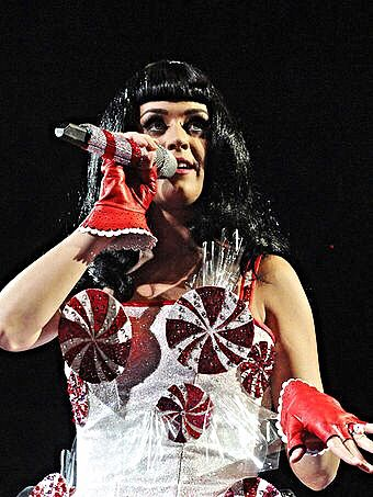 Katy Perry in her trademark spinning peppermint swirl dress.