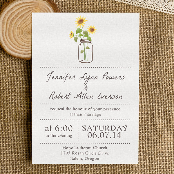 simple rustic wedding invitations with sunflower mason jars EWI355