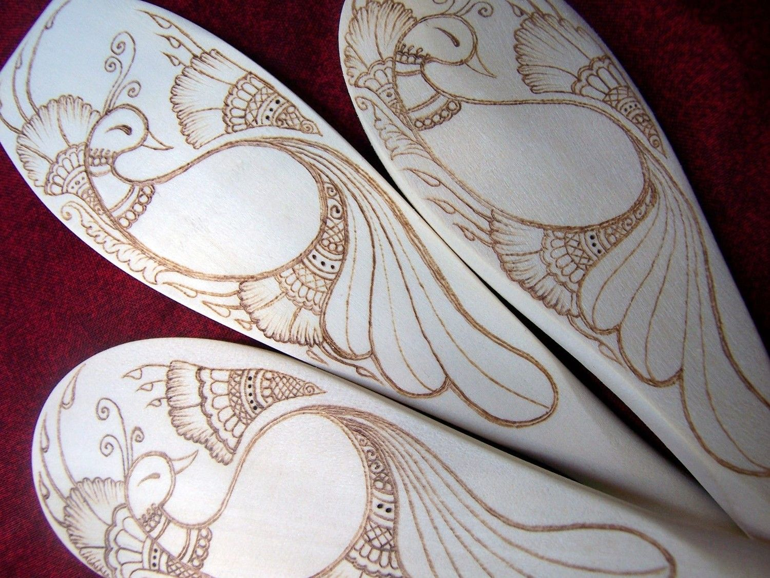 Peacock with Three Blossoms Wooden Spoon in Pyrography - Made to Order. $60.00, via Etsy.