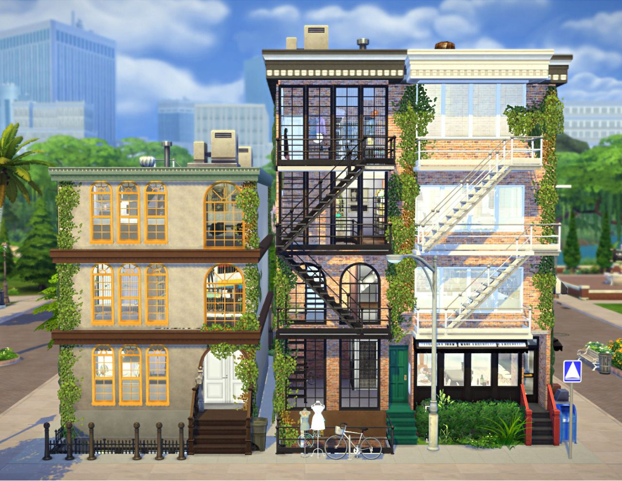 Apartment Build Get To Work Stairs Doors Windows Walls Wall Greenery Bicycles Outdoor Plants Grass Awnings