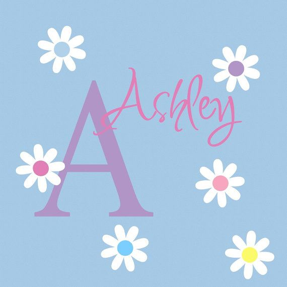 Daisy Wall Decal Monogram with Name Nursery Decor Childrens Art ...