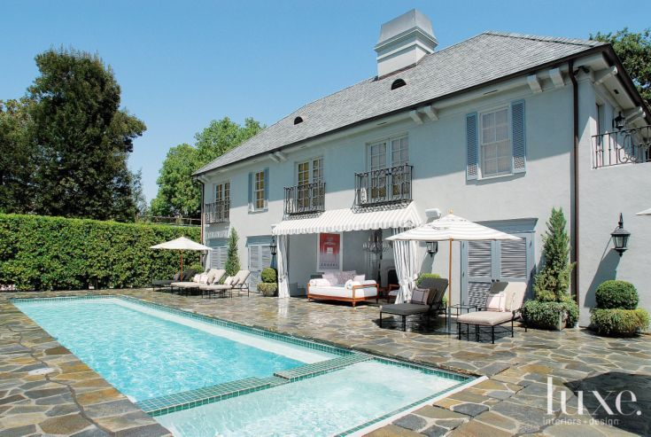 Traditional Gray Exterior With Lap Pool Luoghi Luoghi Da Visitare