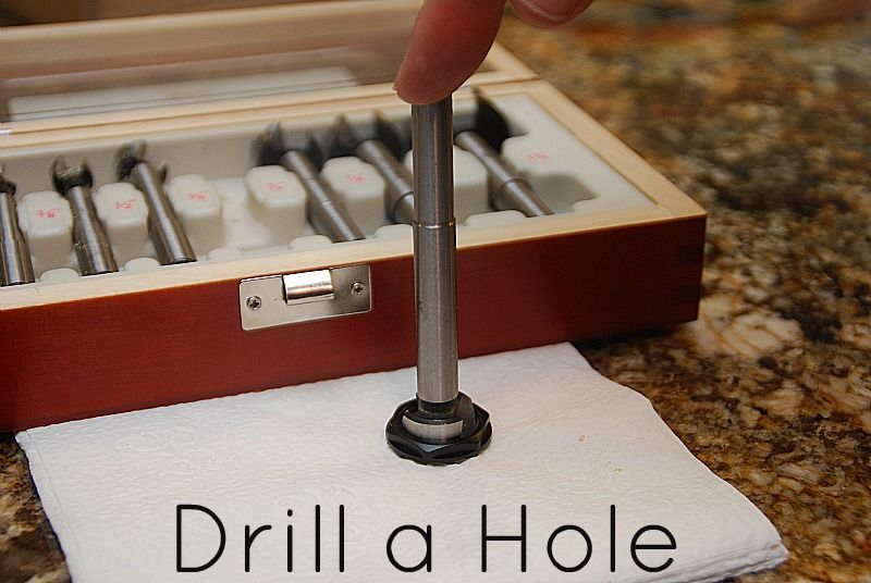 To drill a hole through metal use steel drill bits - Porter Cable drill bits - sand opening and insert rubber ring