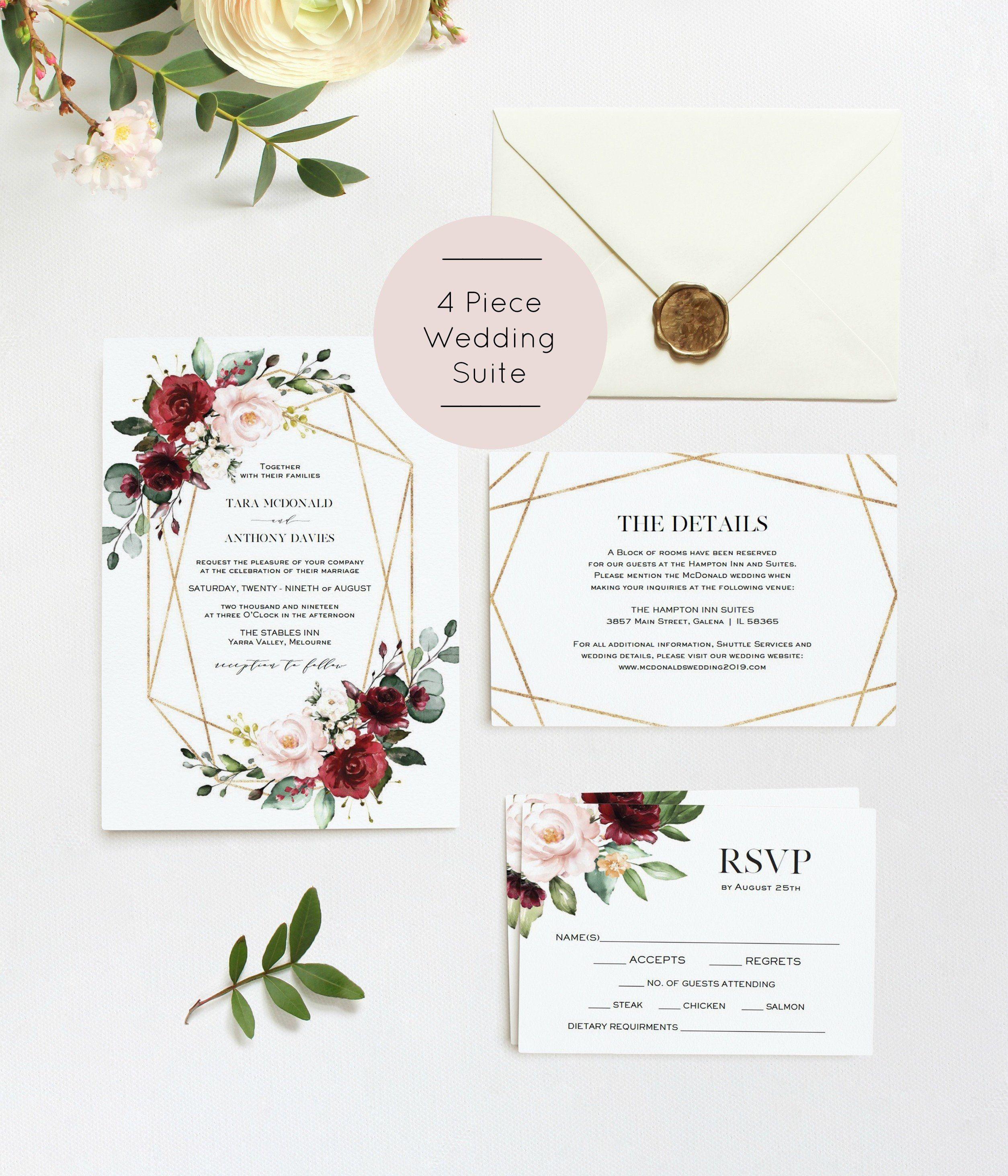 Burgundy Wedding Invitation Greenery