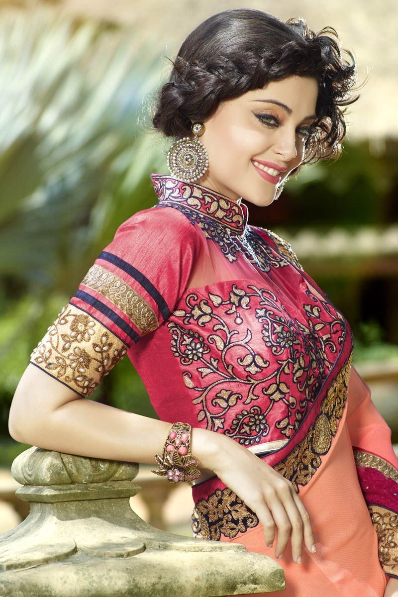 Ombre peach n pink embellished border saree things to wearsarees
