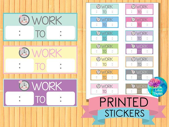 work time planner stickers printed stickers work hours work